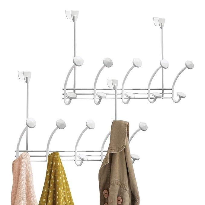 mDesign Juego de 2 percheros de puerta para organizar armarios, pasillo o baño - Colgadores de ropa de metal con 5 ganchos dobles - Percheros para puerta ...