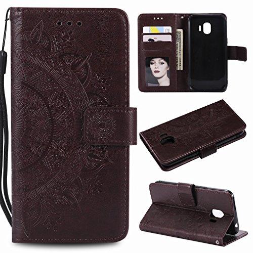 Laybomo Samsung Galaxy J2 Pro (2018) Ledertasche Schuzhülle Weiches TPU Silikon Cover Magnetisch Stehen Brieftasche Schale Handyhülle für J250F mit Kartensteckplatz, Zauberarray (Grau) Braun