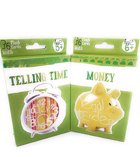Flashcards For Kids 2 pack (Learning Money and Telling Time) (Money Cards Learning)