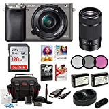 Sony Alpha a6000 Camera w/ 16-50mm & 55-210mm Lens & Corel Deluxe Imaging Software (Graphite)