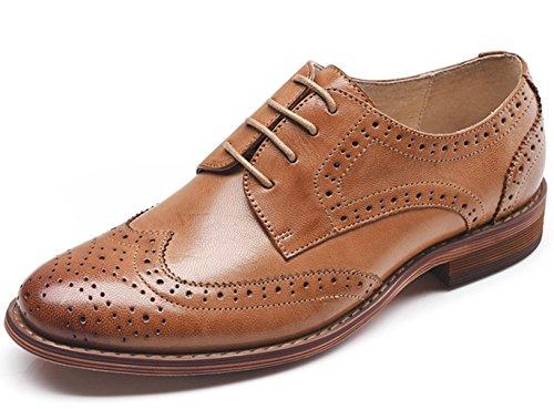 Oxfords Derbies Marron en à Bureau Chaussures Nubuck Comfy Vintage Femme SimpleC Plat 37B Lacets Cuir qw01II