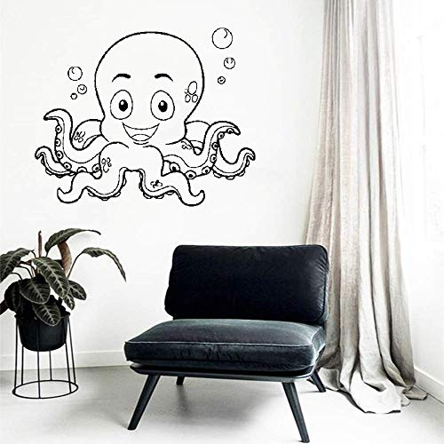 Aspxi Removable Vinyl Wall Stickers Mural Decal Art Home Decor Smiling Octopus Bubbles Funny Kids Nursery Room