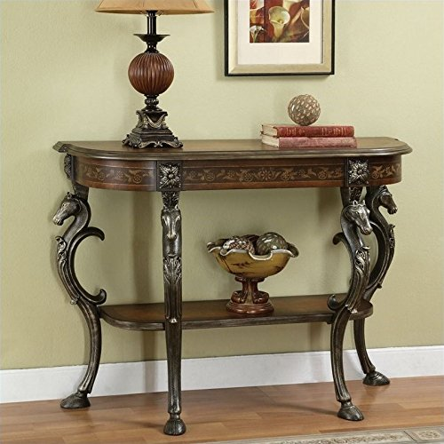 Powell Masterpiece Floral Demilune Console Table with Horse head and Hoofed-foot Cast Legs and Display Shelf Floral Hand Painted Console