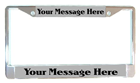 Amazon.com: CHROME Personalized Laser Engraved License Plate Frame W ...