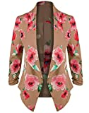 HOT FROM HOLLYWOOD Women's Lightweight Open Cardigan Blazer Jacket with 3/4 Sleeves in Solid and Floral Print