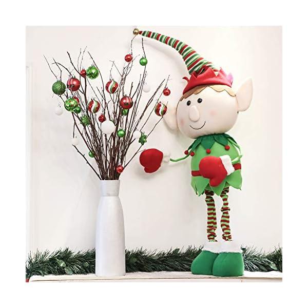 Victor's Workshop Addobbi Natalizi 35 Pezzi 5cm Palle di Natale per Albero, Delizioso Elfo Rosso Verde e Bianco Infrangibile Palla di Natale Ornamenti Decorazione 5 spesavip