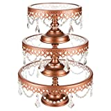 Victoria Rose Gold Cake Stand Set of 3, Round Glass Plate Metal Dessert Cupcake Pedestal Wedding Party Display with Crystals