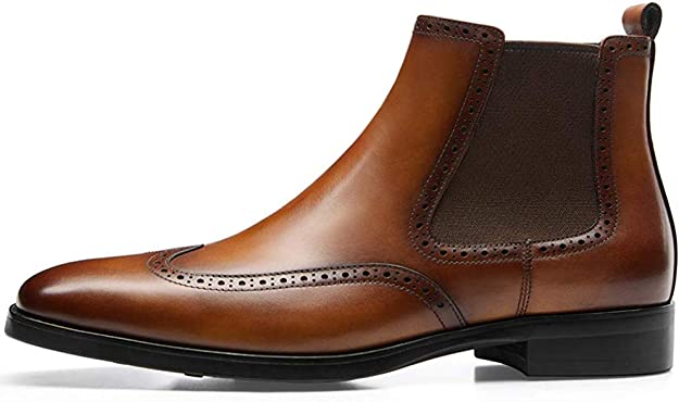 Duckmole Mens Fashion Leather Chelsea Slip-on Dress Casual Boots Pointed-Toe Size 6-10