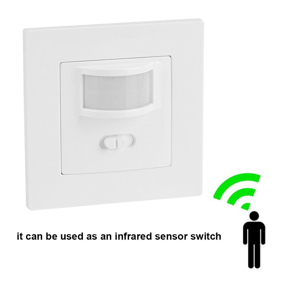 FAMKIT Infrared PIR Motion Sensor AC 110V-240V Recessed Wall Lamp Light Bulb Switch