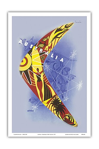 Australia - Boomerang - Kangaroo - Aboriginal Art - Australian National Travel Association - Vintage World Travel Poster by Gert Sellheim c.1957 - Master Art Print - 12in x - Australian Boomerangs Aboriginal