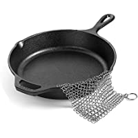 """Stainless Steel Cast Iron Cleaner Ring 8""""x6"""" BEoffer Premium Stainless Steel 316L Chainmail Scrubber Easy to Clean Cast Iron Skillet Cookware Griddle Wok and Dutch Oven Pre-Seasoned Pan Waffle Glass"""