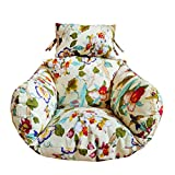 SQINAA Hanging Egg Hammock Chair Cushions Without Stand,Multi Pattern Swing seat Cushion Thick nest Hanging Chair Back with Pillow-F