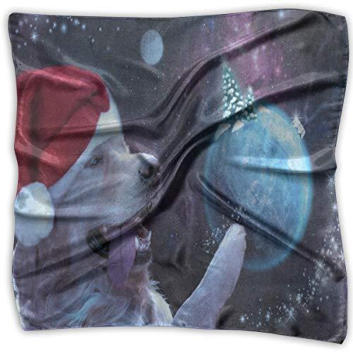 Square Scarf Happy Dog Christmas Tree Planet Space Neckerchief Unisex Bandanas Tie For Men