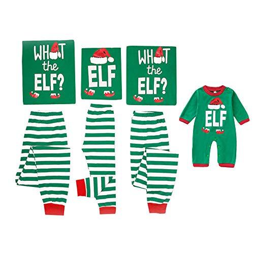 Mikrdoo Family Matching Christmas Pajamas Sleepwear Letter Printed Green Striped Pajamas Pant Set (7 Years, Kid)