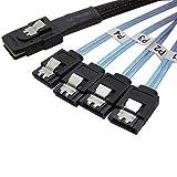 CableDeconn 1M Mini-SAS SFF8087 To 4x Straight Reverse SATA Fanout Cable Blue