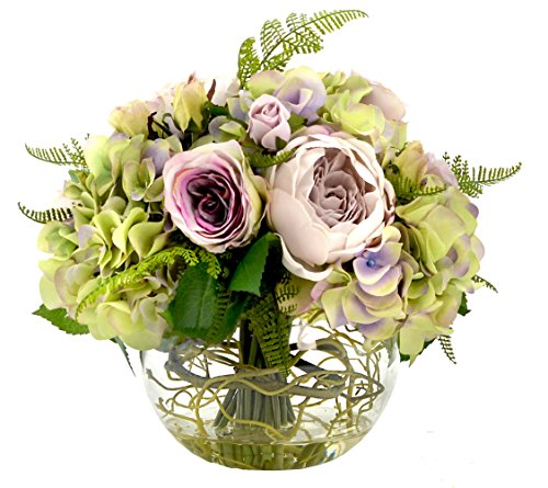 - Creative Displays Victorian Style Arrangement with Hydrangea & Roses in Bubble Glass Bowl Embellished with Green Vine