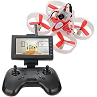 DLFPV Mini UFO Quadcopter Drone with HD 600TVL Cemara 4.3inch LCD Monitor Receiver and 2.4Ghz 8CH Remote Control 6 Axis Gyro RC Drone Designed for Beginner Indoor FPV Racing in White