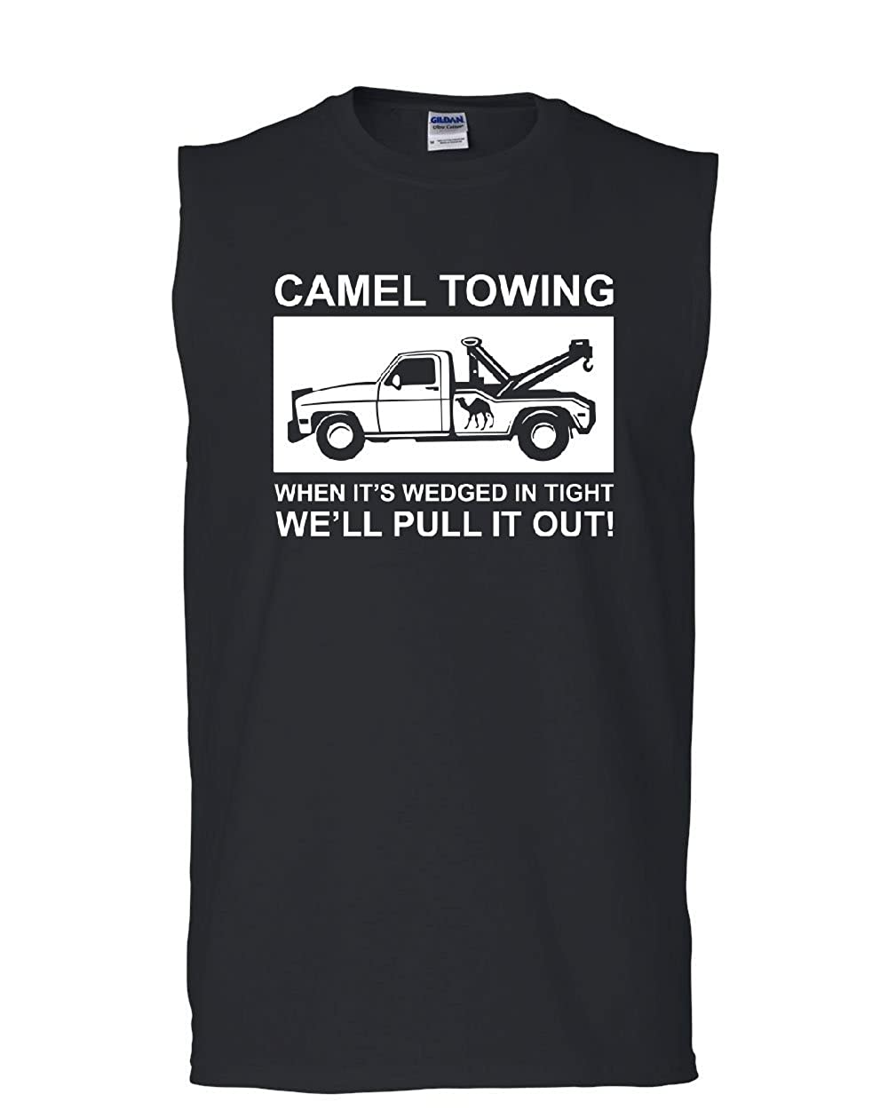 Tee Hunt Camel Towing Pull it Out Muscle Shirt Funny Naughty Adult Camel Toe Sleeveless