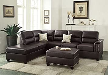 Poundex F7609 Upholstered Sofas/Sectionals/Armchairs, Espresso