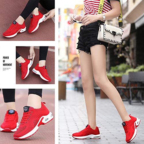 FLARUT Running Shoes Womens Lightweight FashionSoprt Sneakers Casual Walking Athletic Non Slip(Red, EU39)