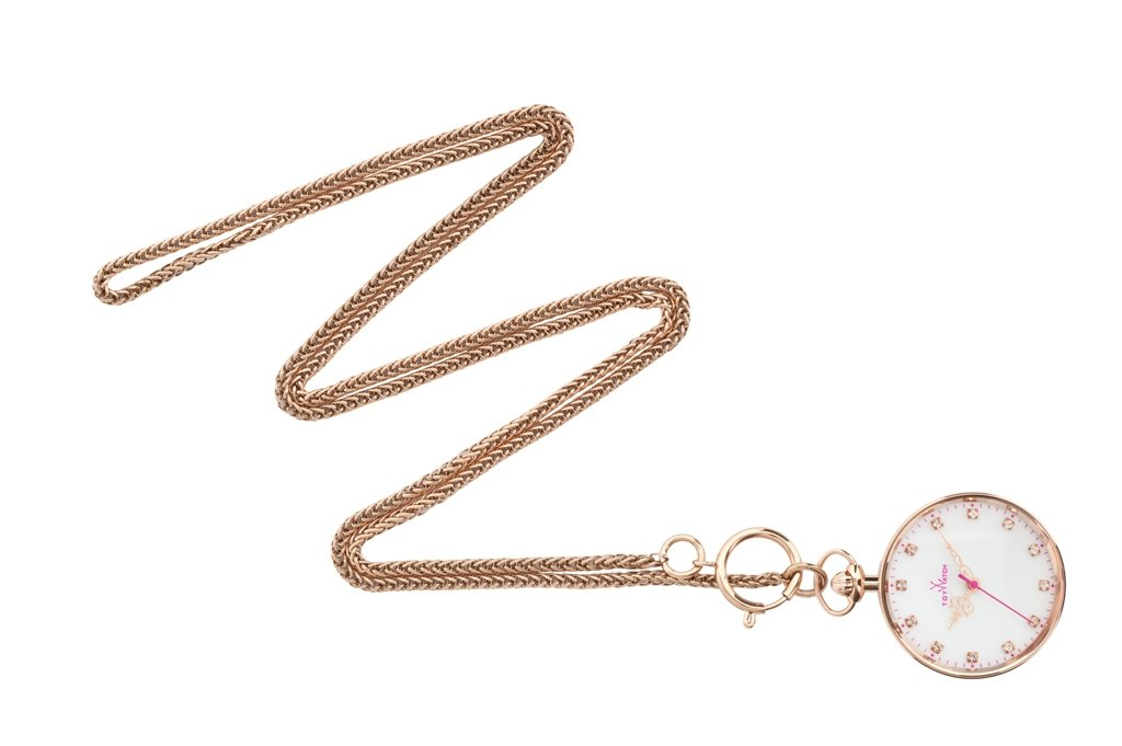 ToyWatch TOY SWING Collection Italian Rosegold White Analog Necklace Pendant Watch PP04WH