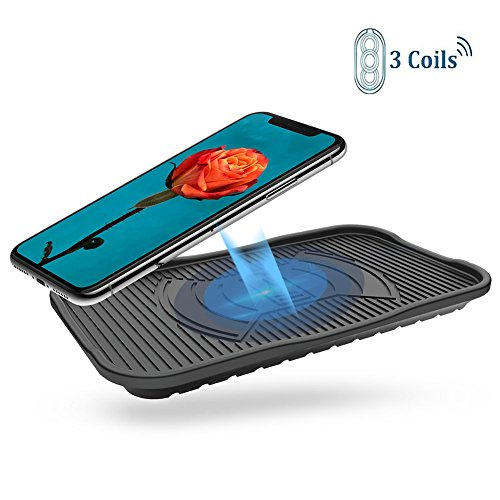 Price comparison product image Silicon Wireless Charger Diglot 3-Coil IP67 Waterproof Standard QI Wireless Charging Pad for iPhone X / 8 / 8 Plus and all QI-Enabled Phones 10W Fast Wireless Charge for Samsung Galaxy S8 / S8Plus / S7 / LG V30
