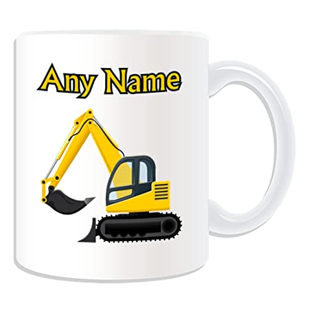 c6d5aaa2c29 Personalised Gift - Excavator Mug (Transport Design Theme, White) - Any  Name / Message on Your Unique - Driver Tracked ...