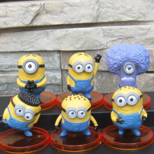 6 Pcs Minions Cake Topper (USA SELLER FAST SHIPPING) Despicable Me Toy Doll Set