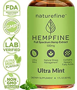 Hemp Oil - (500 MG) Zero THC CBD Cannabidiol - Full Spectrum Hemp Oil - New Sweet Mint Flavor - Natural Pain Relief & Anxiety - Hempfine - Proudly Grown & Made in USA by NatureFine