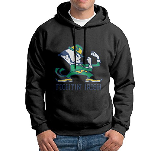Price comparison product image FUOALF Mens Pullover University Of Notre Dame Logo Hooded Sweatshirt Black XL