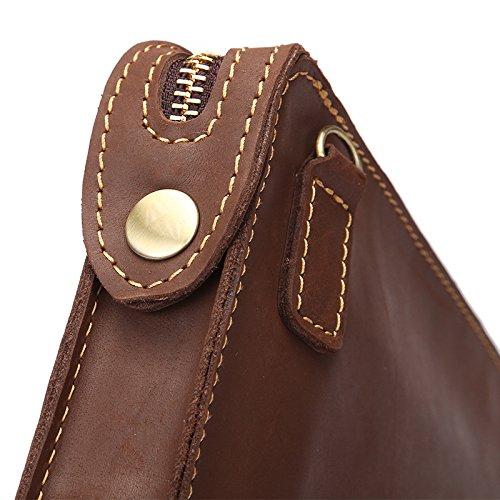 Mefly Monedero De Cuero Vintage Bolso De Mano Bolso De Cuero Hombres De Negocios De Cuero Crazy Horse Mini Capa Cabeza