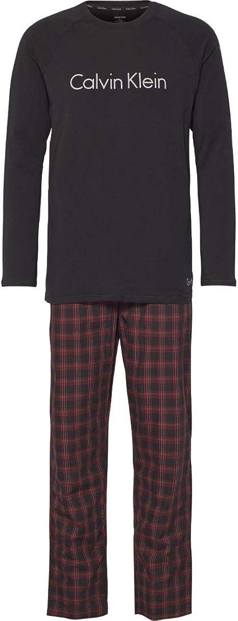 Calvin Klein Jersey & Pijama De Franela Cepillada para Hombre, Negro/Rojo