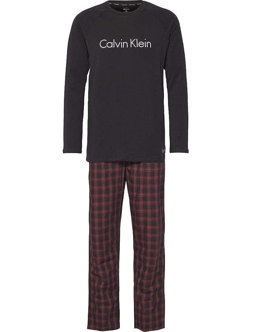 Calvin Klein Mens Boxed PJ/Pajama Set Check Bottoms & L/S T-Shirt - Gift Boxed