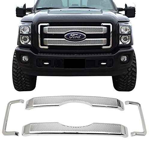Front Grille Fits 2011-2016 Ford F250 350 450 Super Duty | Platinum Style Chrome Moulding Mesh Grille by IKON MOTORSPORTS | 2012 2013 2014 2015