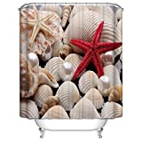 DebbieBrown Polyester Sea Starfish And Shell Bathroom Curtains Width X Height / 72 X 72 Inches / W * H 180 By 180 Cm Gift Or Decor For Father Husband Hotel Father Couples. Home Fashion - F