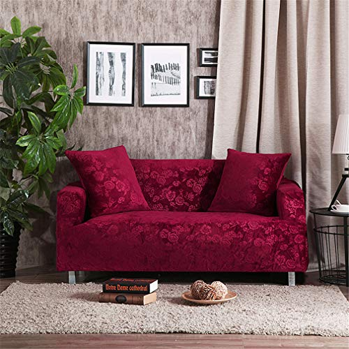 RETAINS Luxury Embossing Velvet Sofa Covers Universal Stretch Couch Slipcovers Sectional Sofa Covers Furniture Protector Teal Turquoise Burgundy 1 Seater
