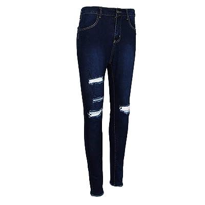 Anaisy Pantalones Vaqueros para Mujeres Pantalones Pantalones Vaqueros Delgados Vaqueros Rotos De Cintura Alta Joven Estiramiento Cómodos para Uso Pantalones Women: Ropa y accesorios