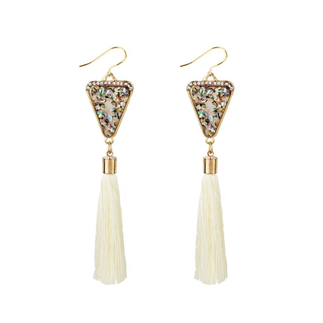 BSGSH Dangle Earrings for Women Vintage Retro Ethnic Drop Bohemian Tassel Earrings Jewelry (White)