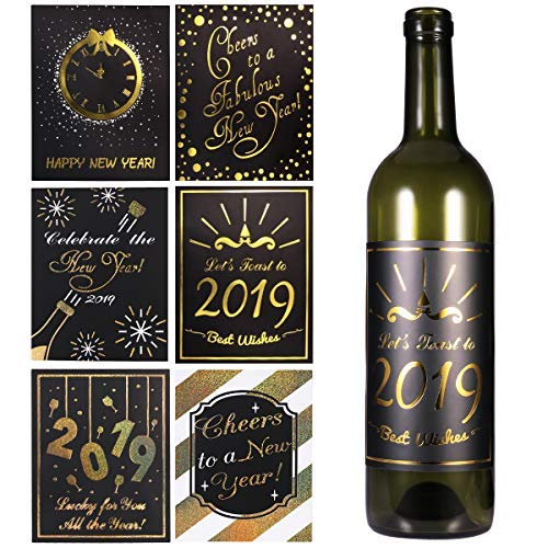 Amosfun 2019 New Year Wine Bottle Labels Party Decoration Accessories Stickers Christmas Bottle Labels for Party Decors,Pack of -