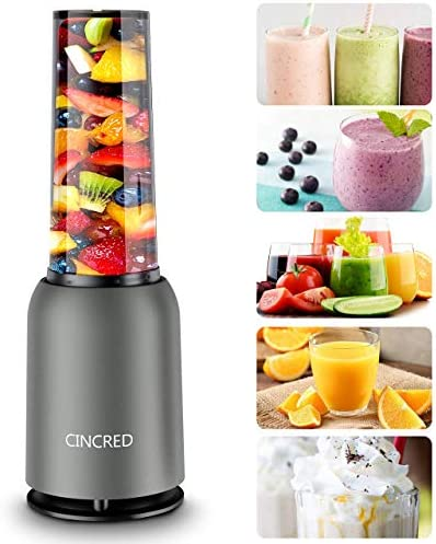 [Updated 2020 Version] Personal Countertop Blender for Milkshake, Fruit Vegetables Drinks, Smoothie, Small Mini Portable Food Blenders Processor Shake Mixer Maker with with 1 * 400ML Travel Cup