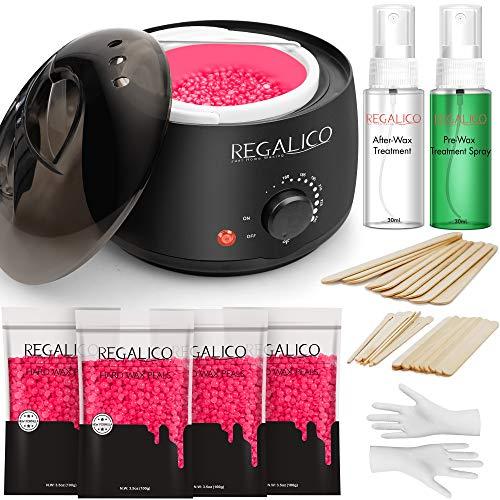 Regalico Waxing Kit, Pre & After Wax Spray, Wax Warmer with 14oz Wax Beans (4 bags), 30 Wax Sticks