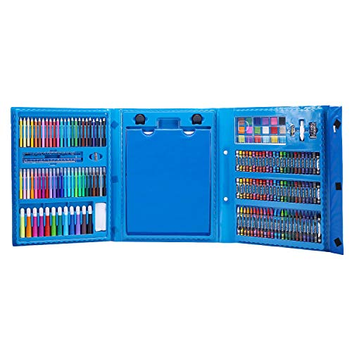 (H&B Kids Art Supplies 208-Piece Double Sided Trifold Easel Art Set, Sketching and Drawing Handle Art Box with Oil Pastels, Crayons, Colored Pencils, Markers, Paint Brush and More-Pink/Blue (Blue))