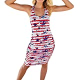 Kimloog Women's USA American Flag Star Print Striped Dress Sleeveless Knee Length Sundresses (L)