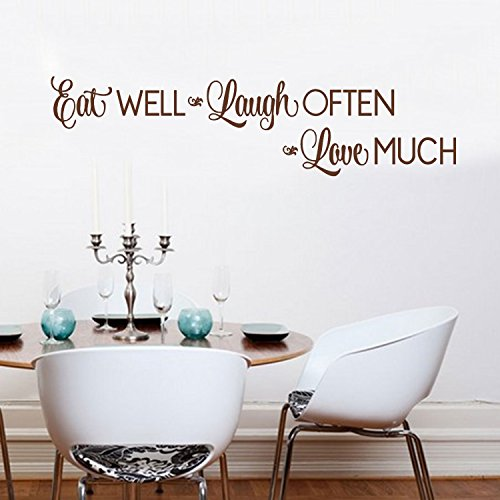 Kitchen Wall Stickers Home Decor, Dining & Cooking Quote Decal Heart Removable Vinyl Art Decoration (Eat Well, Laugh Often, Love Much, Brown)