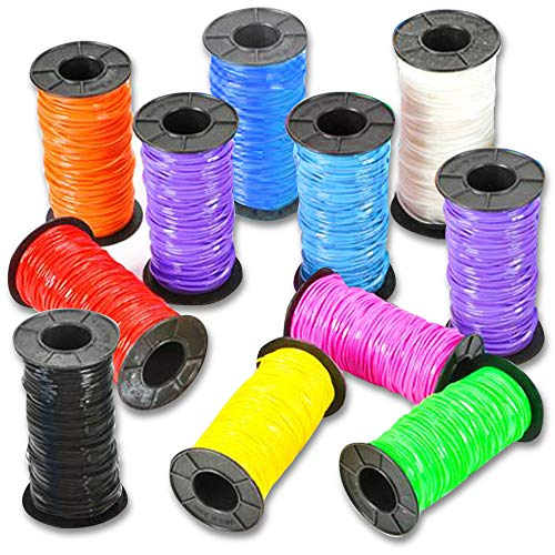 ARTCREATIVITY 분류 플라스틱 공예 GIMP 10 개의 스풀 공예 레이스 코드에서는 10 밝은 색상 SCOUBIDOU 쓸데 설정 보석 만들기를 위해 레이싱 장식적인 병 공예품 공급에 대한 어린이