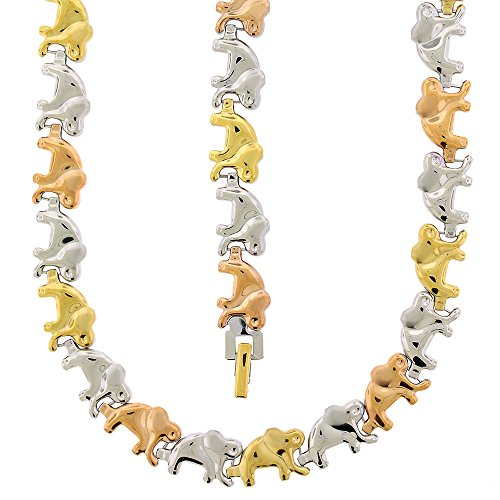 Elephant Tri Color Bracelet (Stainless Steel Womens Tri Color 11mm Elephant Stampato 18