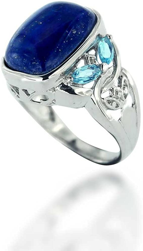 Lapis lazuli Pearl natural loose gemstone 925 Solid Sterling Silver Ring Jewelry