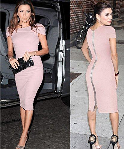 Mytom 2014 nouvelles femmes de mode d'été sexy à manches courtes et col carré robe mince