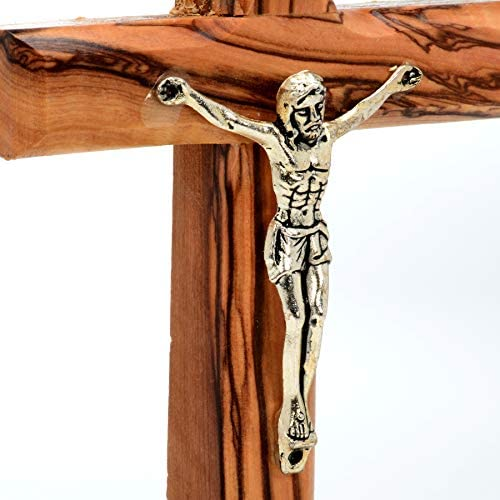 Beautiful Jesus Christ Wall Mounted Crucifix Church Craft Processing in Authentic Olive Wood Chapel Sacred Object ProductName: Wooden Cross of Jesus from The Places of His Birth