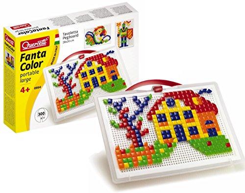 Quercetti 0954 - Mosaik-Steckspiel Fanta Color portable large inklusiv 300 Stecker, quadratisch und dreieckig sortiert